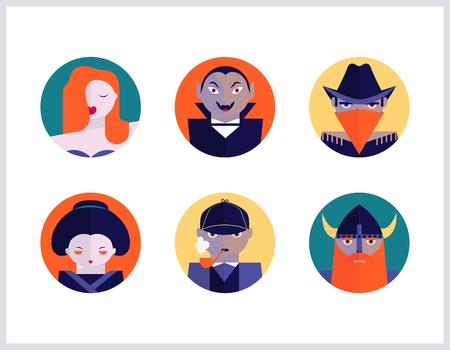 Bookstore and cinema subjects, flat icons set Ilustrace