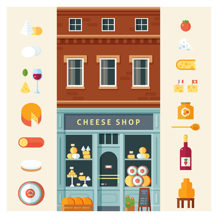 Colorful delicious cheese variety icon set isolated vector illustration. Flat design style.