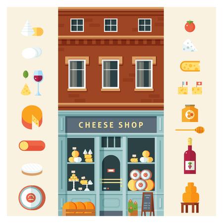Icône de variété de fromage délicieux coloré définie illustration vectorielle isolée. Style design plat Vecteurs