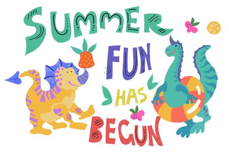Cute dinosaurs or dragons on the beach or swimming pool with summer slogan vector illustration. Poster or banner template to illustrate summer fun.