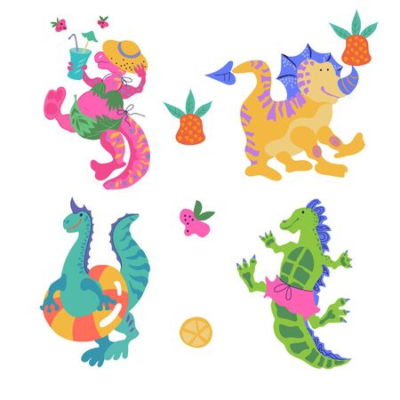 Set of cartoon colorful dinosaurs, little funny monsters vector illustration isolated on white background. Prehistoric animals for textile prints and childrens items.