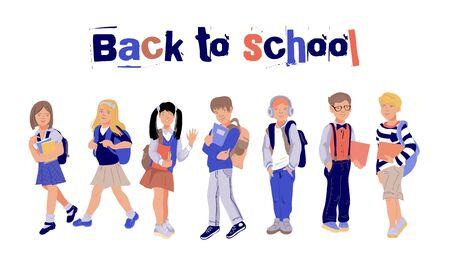 Torna a scuola banner o poster con bambini, scolari e scolare caratteri piatto sfondo illustrazione vettoriale. Bambini carini nel concetto educativo di scuola autunnale.