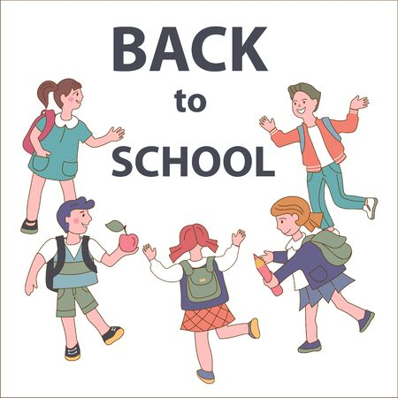 Pupils, boys and girls running to school cartoon children characters the vector illustration. Back to school autumn education poster or banner template.