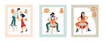People the ceramists work at a potters wheel in a ceramic workshop and sale the clay crockery flat vector illustration. Design for master classes and craft shops, logo.