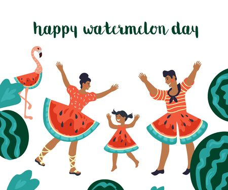 Happy watermelon day concept cartoon characters of man and woman dancing in creative red costumes look like watermelon slice. Vector illustration poster for august holiday.  イラスト・ベクター素材