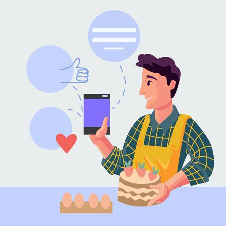 Man cooking and sharing his success in social media, getting feedback and positive comments flat vector illustration. Blogging and online communications banner concept. Illustration