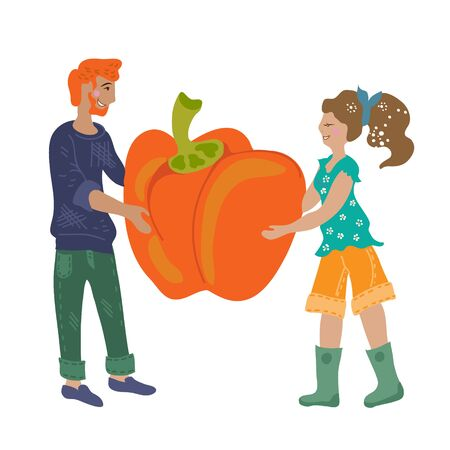 People picking a pumpkin cartoon flat vector illustration isolated on background. Concept of autumn harvest and ecological farm food for street markets and vegan fairs.  イラスト・ベクター素材