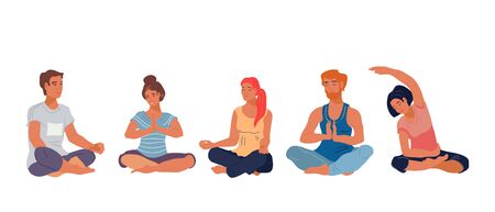People in meditation lotus pose at yoga class the flat vector illustration isolated on white background. Banner for peoples activity and wellness concepts.