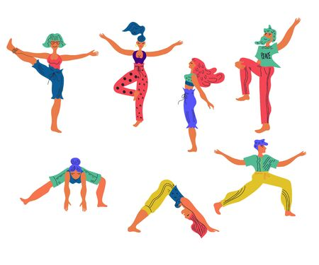 Set of people characters practice yoga in various poses vector illustration isolated on white background. Healthy active lifestyle and wellbeing concept for sport projects. Illustration