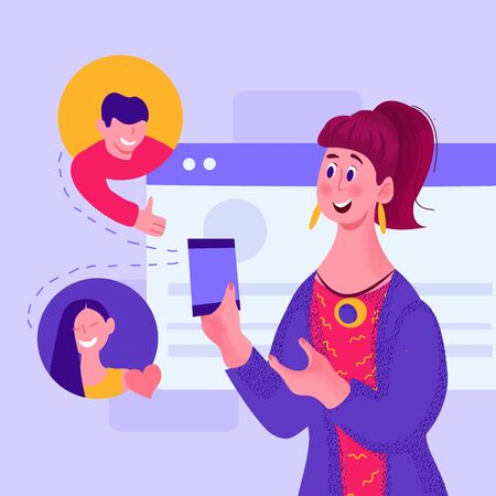 Social media sharing and communication concept with woman cartoon character holding smartphone and charting. Flat vector background to illustrate internet phone technology.