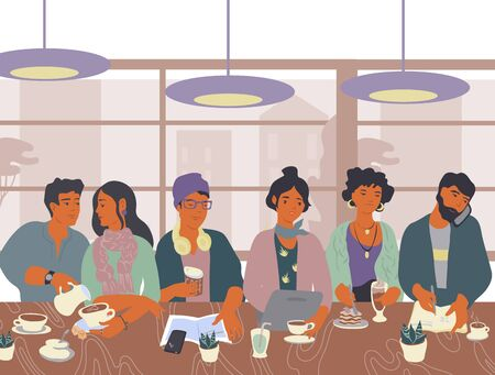 Coffeehouse or cafe scene with diverse people sitting at table, drinking coffee, using smartphone and working on laptop vector illustration in trendy flat cartoon style.  イラスト・ベクター素材