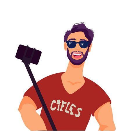 Hipster man taking selfie using a smartphone and selfie stick flat vector illustration isolated on white background. Lifestyle and mobile phone communication technology.