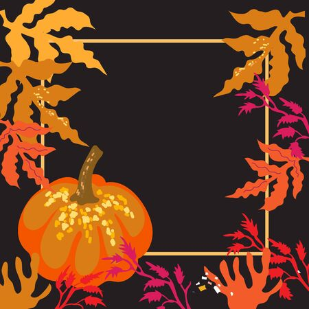 Background with pumpkin and autumn leaves frame flat vector illustration on a dark field. Template for fall season advertising banners or Halloween and Thanksgiving events.