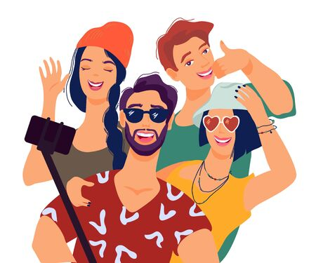 Best friends taking selfie with smartphone flat vector illustration isolated on white background. Friendship, lifestyle and mobile technology concept with people having fun.