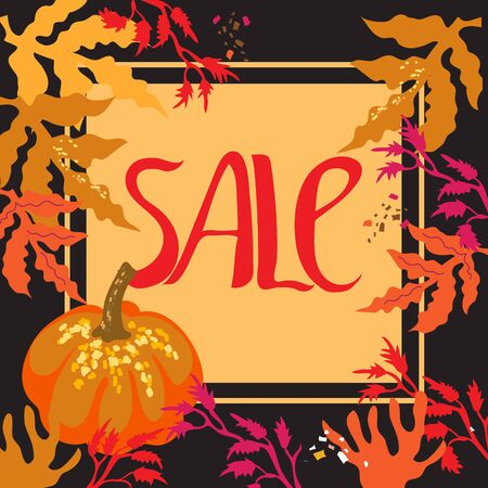 Autumn sale banner with a pumpkin and autumn leaves frame flat vector illustration on a dark background. Template for fall season advertising flyers and posters. Foto de archivo - 135431912