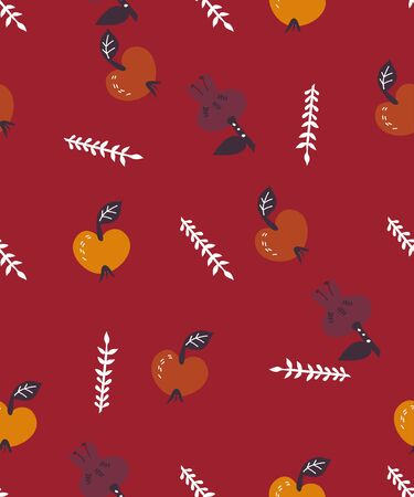 Autumn seamless pattern with apples and pomegranate fruits vector illustration. Ilustração