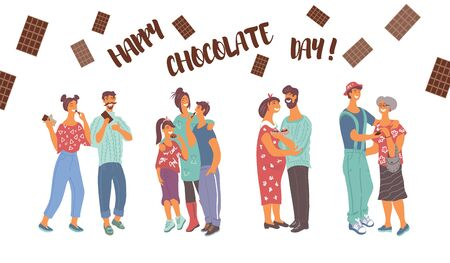Template for World Chocolate Day the poster or card with diverse people treat each other with chocolate flat vector illustration. Banner with cartoon characters and Happy Chocolate Day inscription.