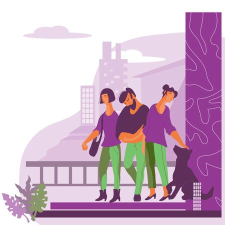 Diverse people standing against the skyscrapers of modern city background flat vector illustration. Fashionable man and women representing urban lifestyle for web site design. 向量圖像