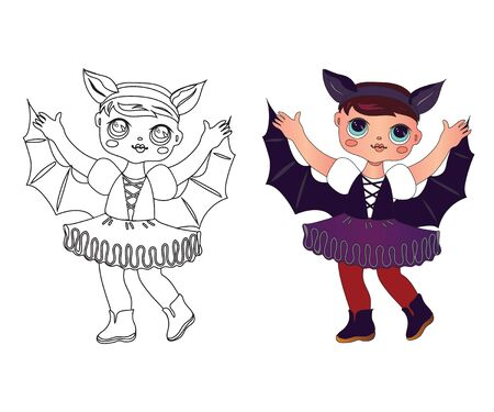 Cute little girl with doll face in Halloween bat vampire costume the children coloring page image. Holiday fun for kids - coloring book hand drawn character with a color example vector illustration is
