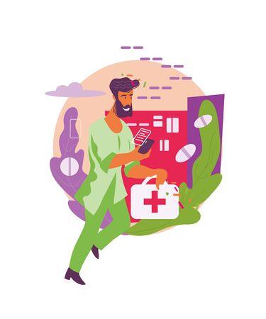 Online pharmacy, drug store delivery and medical help flat vector illustration. Иллюстрация
