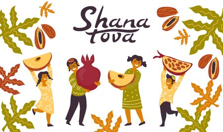 Jewish holiday Rosh Hashanah banner with people and lettering vector illustration.
