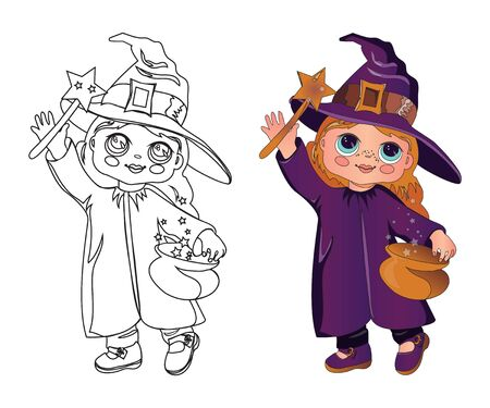 Cute little girl with doll face in Halloween costume of witch or magican the children coloring page image for holiday kids fun. Coloring book hand drawn image with a color example vector illustration   イラスト・ベクター素材