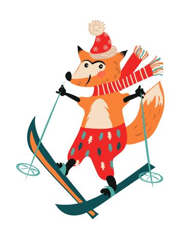 Christmas and New Year winter fox skiing cartoon character for greeting cards flat vector illustration isolated on white background. Cute animal for Xmas design.