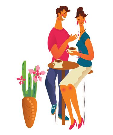 Cute romantic couple at cafe or coffeshop drinking coffee and talking. Young man and woman dialog or conversation at cafe on date. Flat cartoon vector illustration isolated on white background. Stock Illustratie