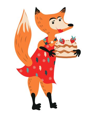 Christmas and New Year winter fox with cake cartoon character for greeting cards flat vector illustration isolated on white background. Cute animal for Xmas design.