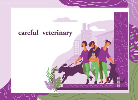 Vet clinic web design for website and landing page with people cartoon characters and pets.