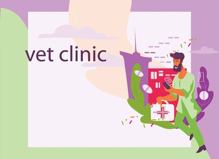 Veterinary clinic and pets care web site template. Vet doctor cartoon character rushing to help. Medical animals help service, landing page design flat vector illustration.  イラスト・ベクター素材