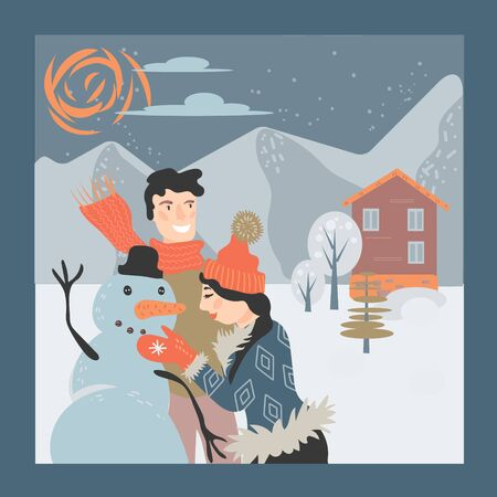 Happy loving couple making snowman on winter snowy landscape background. Template for Christmas greeting cards, invitations. Xmas and New Year holidays design vector illustration.