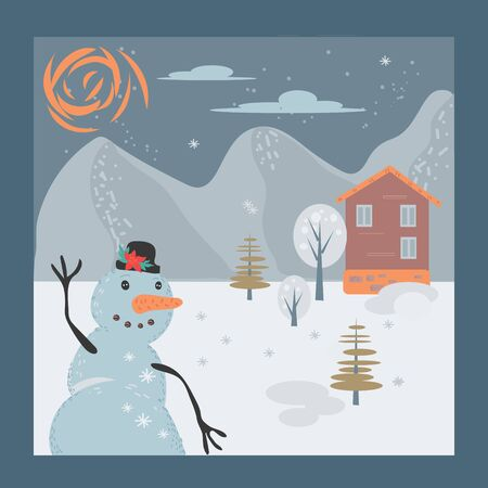 Snowman on Christmas winter landscape Background. Christmas Background. Template for holiday greeting card and invitation. New Year and Xmas banner. Flat cartoon vector illustration.  イラスト・ベクター素材