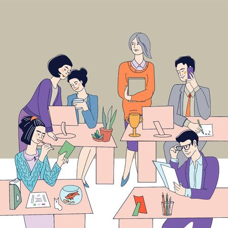 Working day in office - business people, men and women at working place. Professional office workers or managers cartoon vector characters illustration. Partnership and occupation.