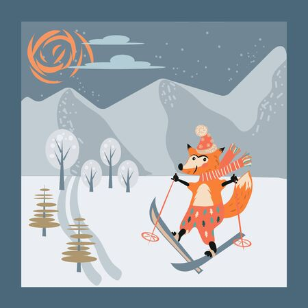 Cute fox animal cartoon character skiing in mountains, flat vector illustration on winter landscape background. Greeting Christmas Card or New Year party template. Funny active sportyive animal for Xmas design.