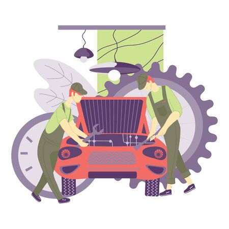 Mechanics repair car in vehicle workshop or garage. Automobile technical service, station and cartoon characters of workers, repairmen. Flat vector illustration isolated on white background.