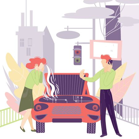 Woman shocked by car problems and man calling to car repair service, flat cartoon characters. Vehicle workshop, evacuator on smartphone app. Automobile insurance Agency. Vector Illustration.  イラスト・ベクター素材