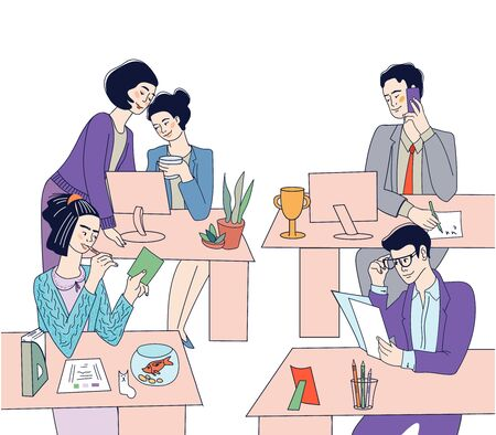 Business people, men and women busy at working place. Professional office workers or managers cartoon vector characters illustration. Partnership and occupation,cooperation. Work day in office and tea  イラスト・ベクター素材