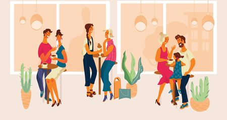 People in cafe or cafeteria in shopping mall - drinking coffee, talking and resting after shopping. Couples, friends and family spending time together. Flat cartoon vector illustration. Foto de archivo - 135431943