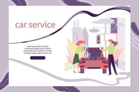 Car service, automobile repair workshop web banner or landing page template with cartoon people characters. Vehicle workshop, auto evacuator app interface. Flat vector illustration.