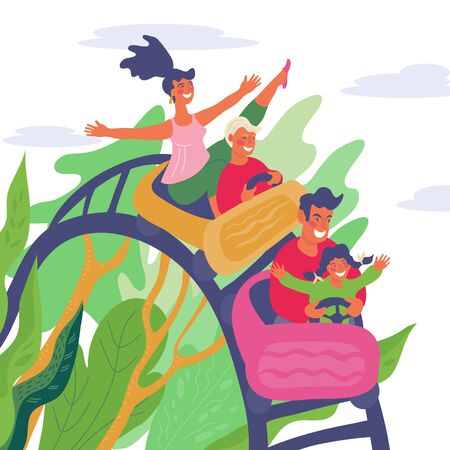 Family have fun at entertainment park and riding on rollercoaster together. Mom, dad and children in amusement park at recreation time. Active leisure and vacation.Flat vector illustration.
