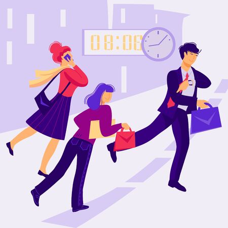 Business people with briefcases late for work, hurrying to meeting. Men and women, office workers characters in morning rush. Modern urban lifestyle. Flat vector illustration. Ilustracja
