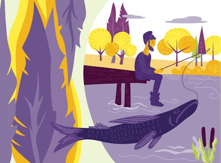 Fisherman or angler fishing on river or lake bank and forest landscape background. Ilustracja