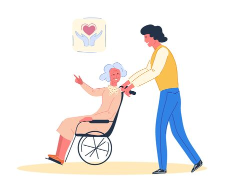 5 December the International volunteer day. Volunteer man walking with elderly disabled woman in wheelchair. Volunteerism and social responsibility, senior people support. Cartoon vector illustration.