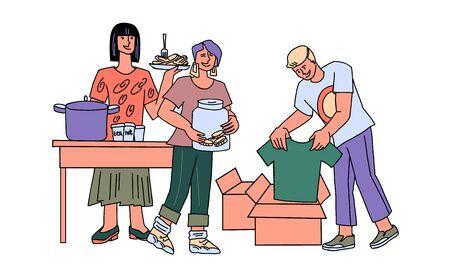 Un equipo de voluntarios ayuda a las personas sin hogar y pobres: reparte comida, recolecta dinero y ropa para donaciones. Altruismo y caridad, personas que necesitan apoyo social y ayuda Ilustración de vector de dibujos animados.