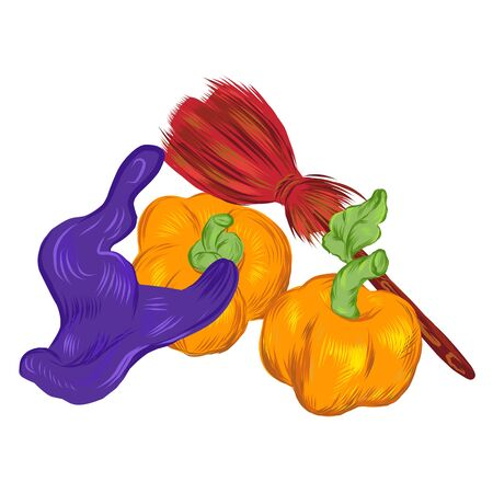 Halloween card template with witches hat, broom and pumpkins, vector illustration isolated on white background. Autumn holidays composition for party invitation and banner.