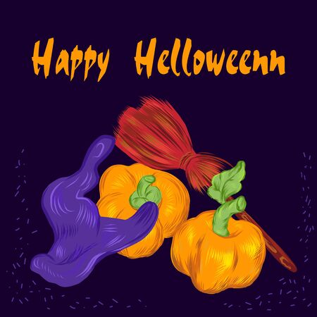 Happy Halloween greeting card template with witches hat, broom and pumpkins, vector illustration isolated on dark blue background. Autumn holidays invitation and banner. Ilustracja