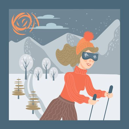 Winter outdoors activity and sport concept - woman skiing at a ski resort on mountains landscape background. Greeting Christmas card and winter holidays design. Flat cartoon vector illustration.