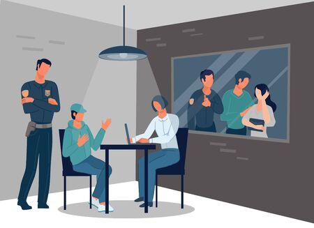 Interrogatorio dell'uomo colpevole o indagine sulla criminalità della polizia nella stanza delle indagini. Vettoriali