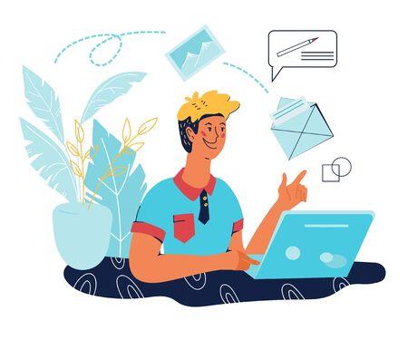 Comunicazione pubblicitaria e-mail, servizi di posta e banner campagna di promozione newsletter con personaggi dei cartoni animati di persone. Tecnologia informatica di Internet. Illustrazione piana di vettore isolata.